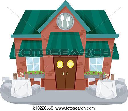 Clip Art of Restaurant Facade k13226558.