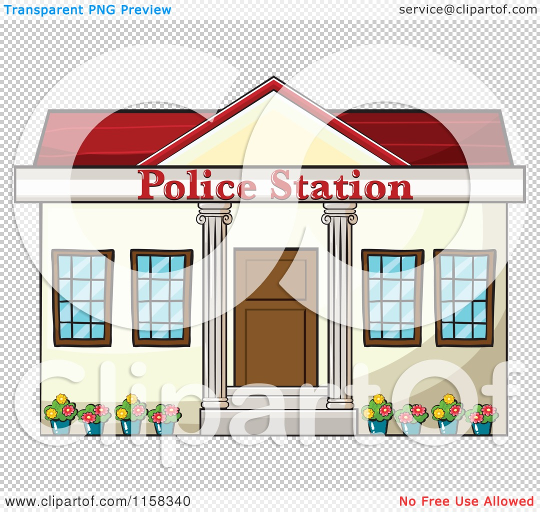 Clipart of a Police Station Building Facade.