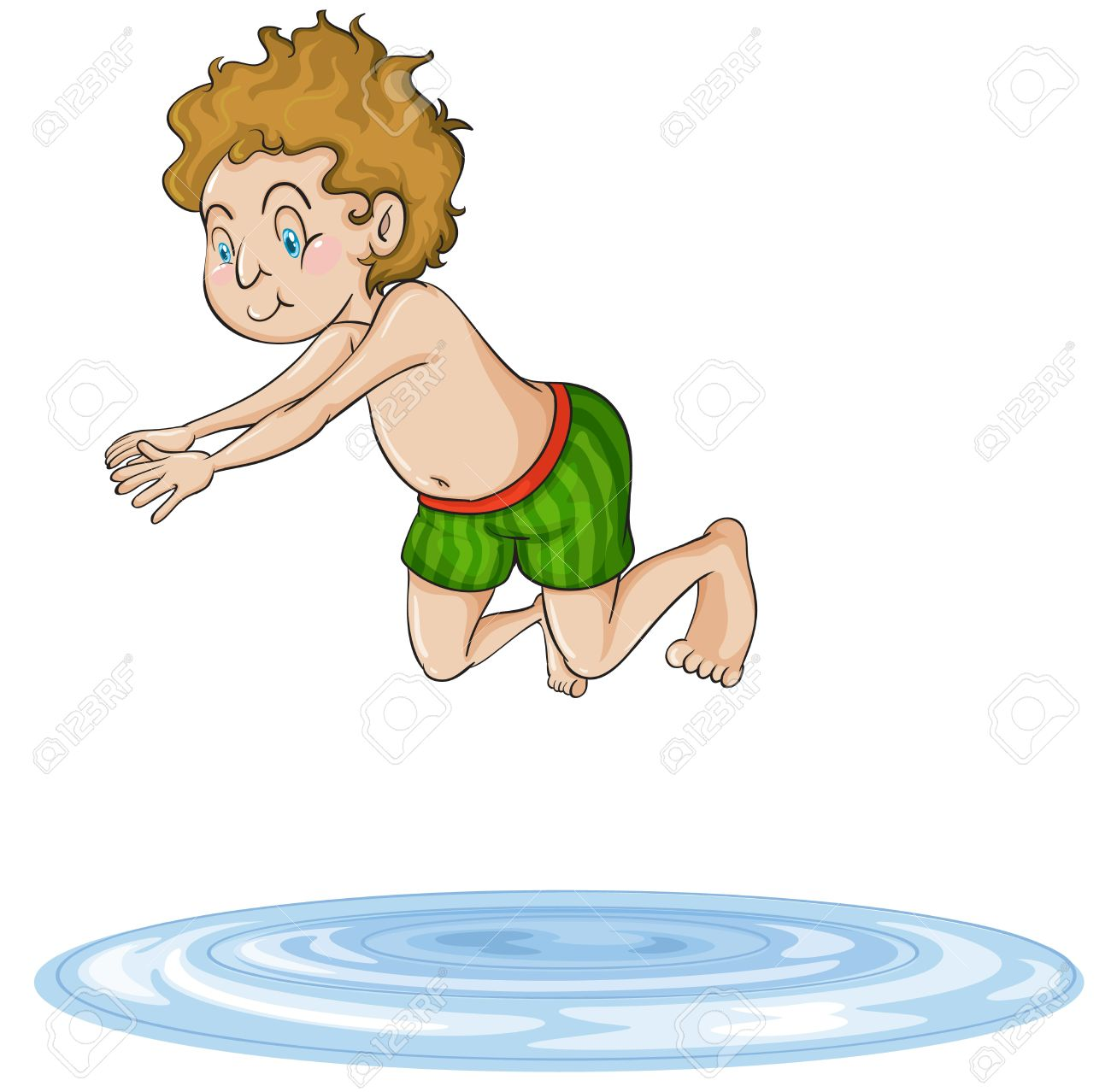 Illustration Of A Boy Diving Into Water On A White Background.
