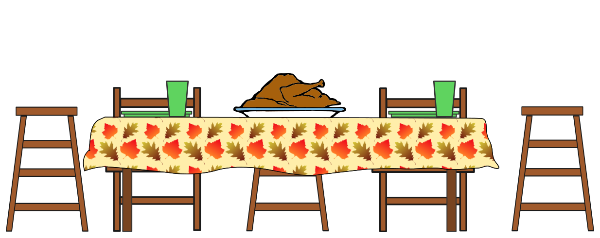 Feast at the table clipart.