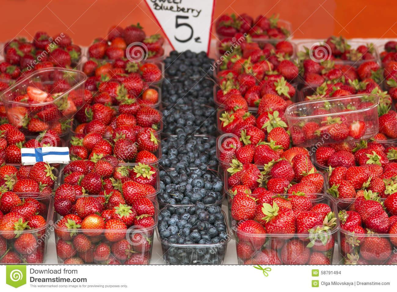 Marketplace With Garden Truck, Vegetables, Fruits, Berries Etc.
