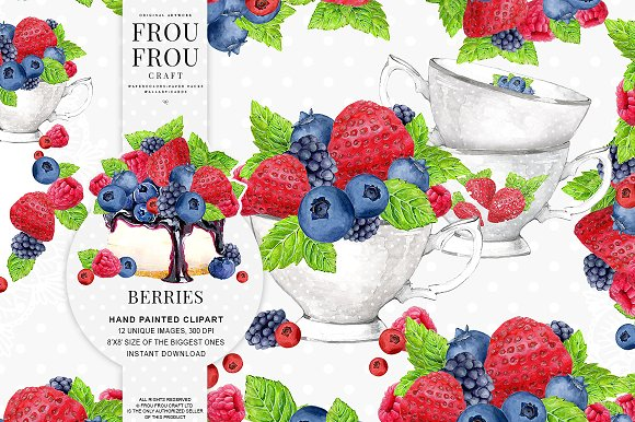Watercolor Berries Clipart ~ Illustrations on Creative Market.