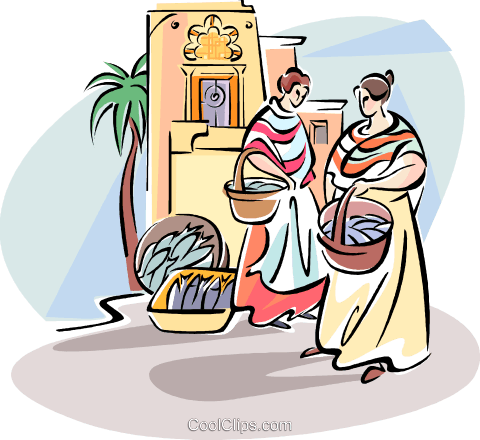 women shopping in the fish market Royalty Free Vector Clip Art.