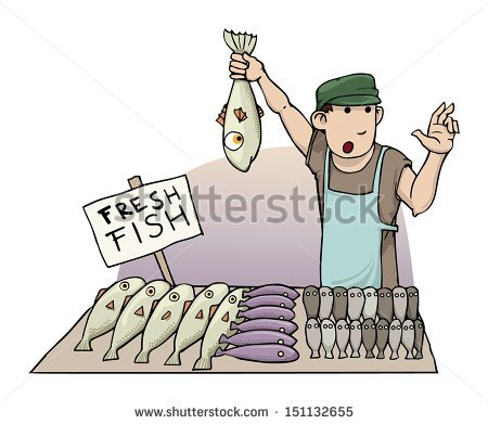 Fish vendor clipart.
