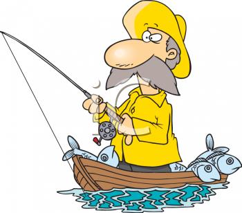 Fisherman Wearing a Yellow Rain Slicker.
