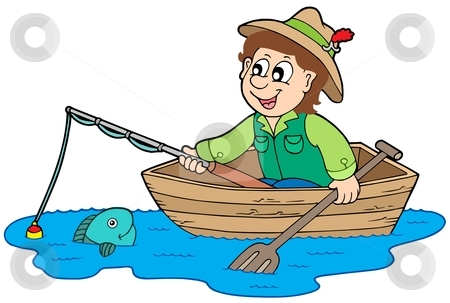 Fisherman In Boat Clipart.