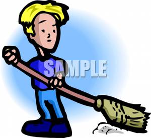 Boy Sweeping the Floor Clipart Image.