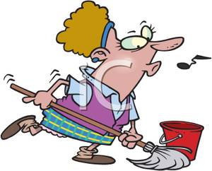 Art Image: A Whistling Maid Mopping the Floor.