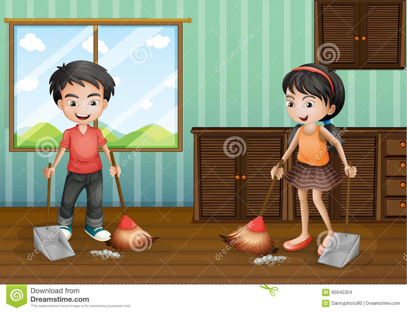 Boy And Girl Sweeping The Floor Stock Vector.