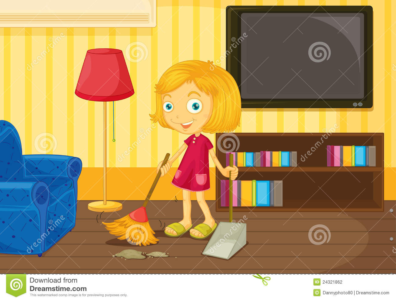 Sweeping The Floor Stock Photography.