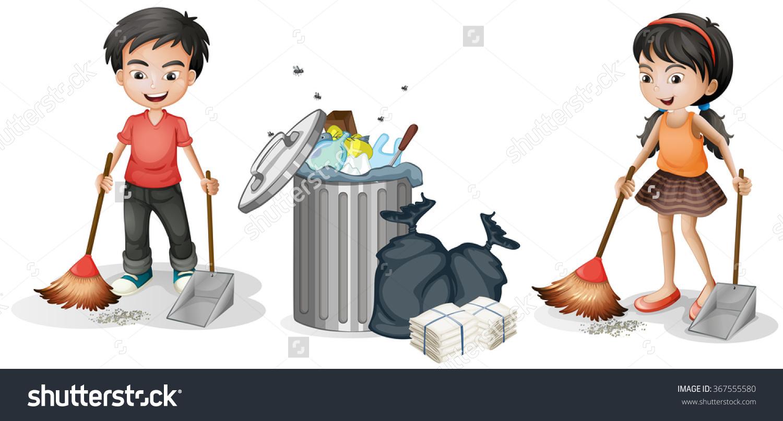 Boy Girl Sweeping Floor Illustration Stock Vector 367555580.