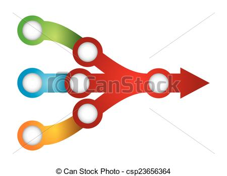 Clip Art Vector of Flow chart template, with color arrows and copy.