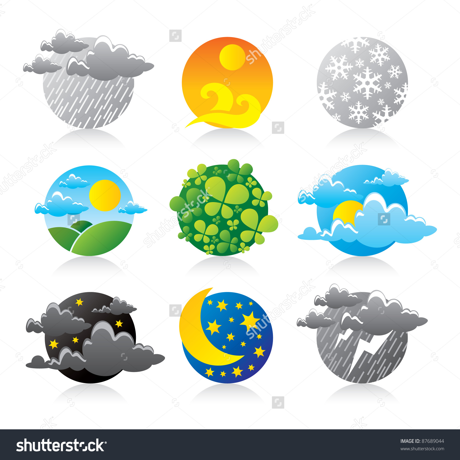 All Earth Planet Weather Forecast Season Stock Vector 87689044.
