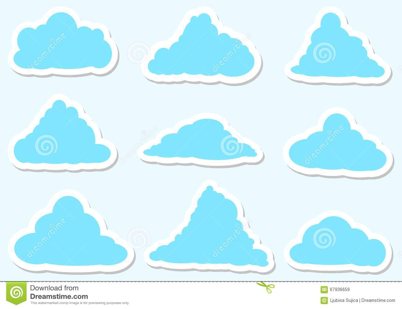 Illustration Messages In The Form Of Clouds, Icon Set Stock.