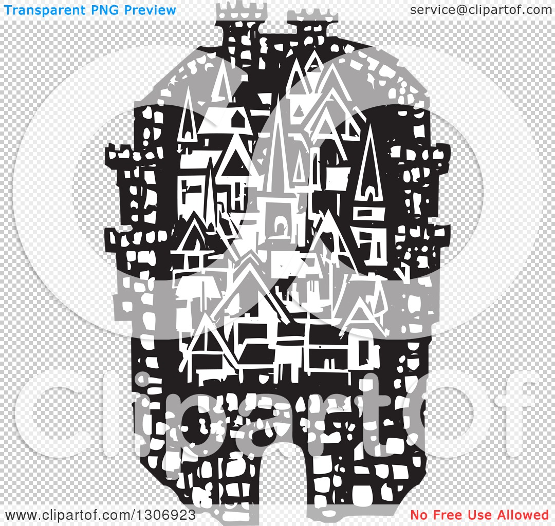 Clipart of a Black and White Woodcut Fortified City.
