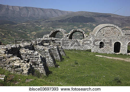 Stock Photo of Part of the fortifications of Berat Castle, Berat.