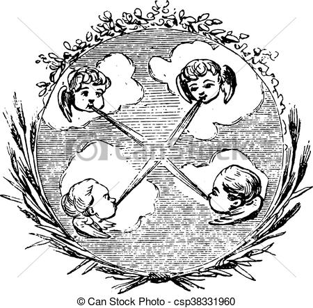 Clip Art Vector of The four winds, vintage engraving..
