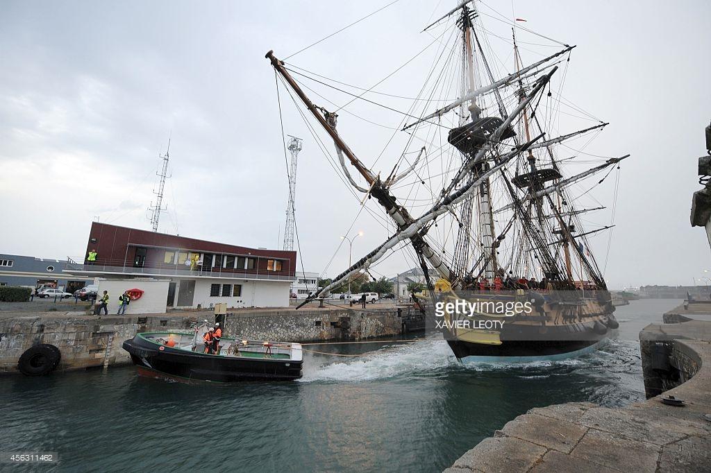 The replica of the French frigate Hermione, onto which La Fayette.