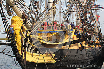 The Bow Of The Tall Ship French Frigate Stock Photo.