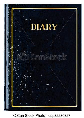 Vector Illustration of Black Diary Cover.