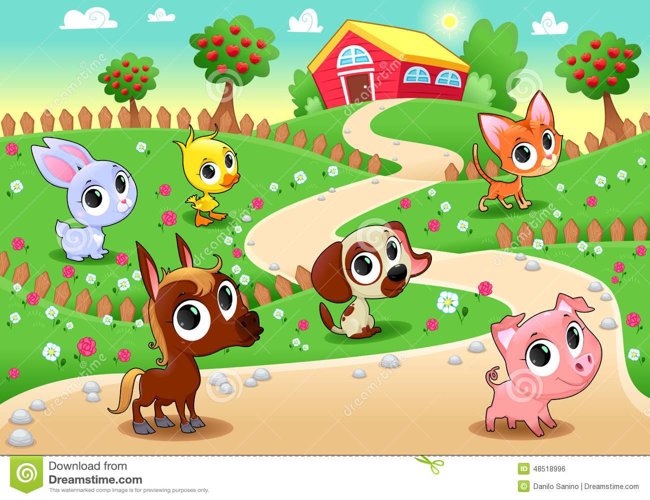 Funny Farm Animals In The Garden Stock Vector.
