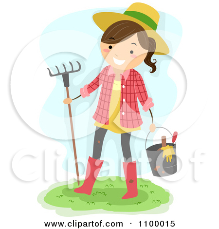 Clipart Happy Farmer Girl Carrying Garden Tools And A Rake.