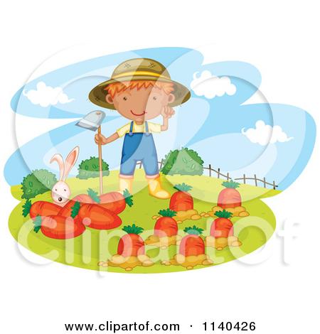Cartoon Of A Rabbit And Farmer Boy In A Carrot Garden.