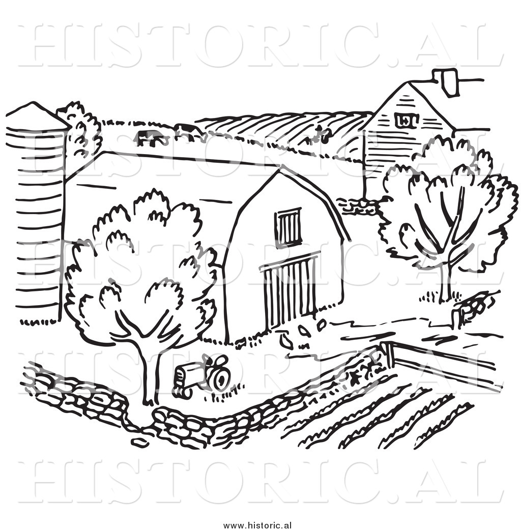 Clipart of a Farm with Barn, Silo, Trees, and Garden.