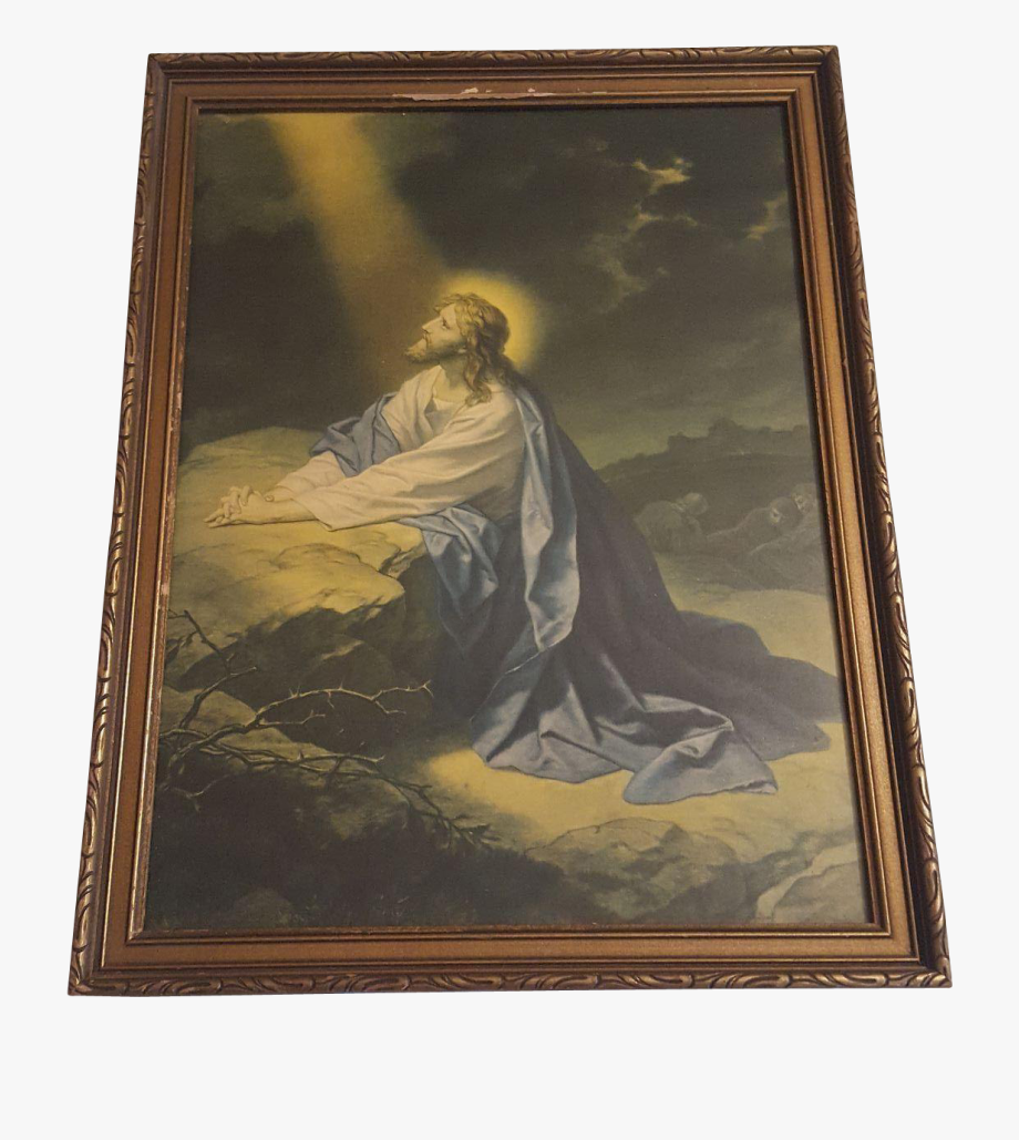 Vintage Religious Print Christ In The Garden Of Gethsemane.