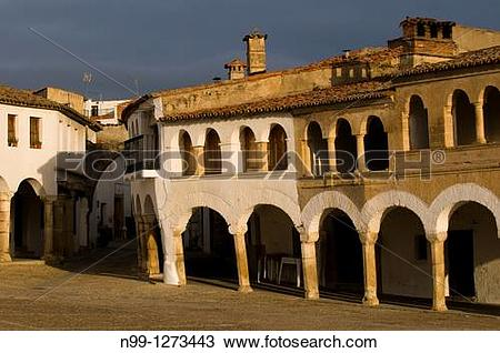 Stock Photo of Village of Garrovillas, Plaza Major, covered.