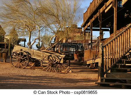 Stock Images of Old wagon at Ghost town.