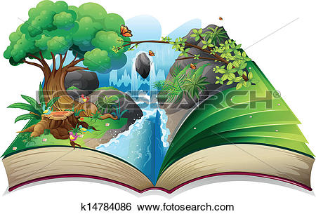 Clip Art of A storybook with an image of the gift of nature.