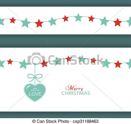 Clip Art Vector of Christmas star border and heart. The Gift of.
