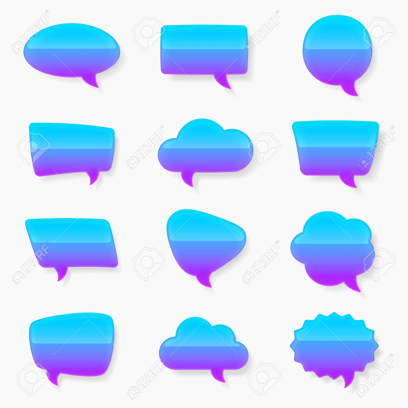 Set Of Multiple Text Bubble Shapes With The Glossy Reflective.