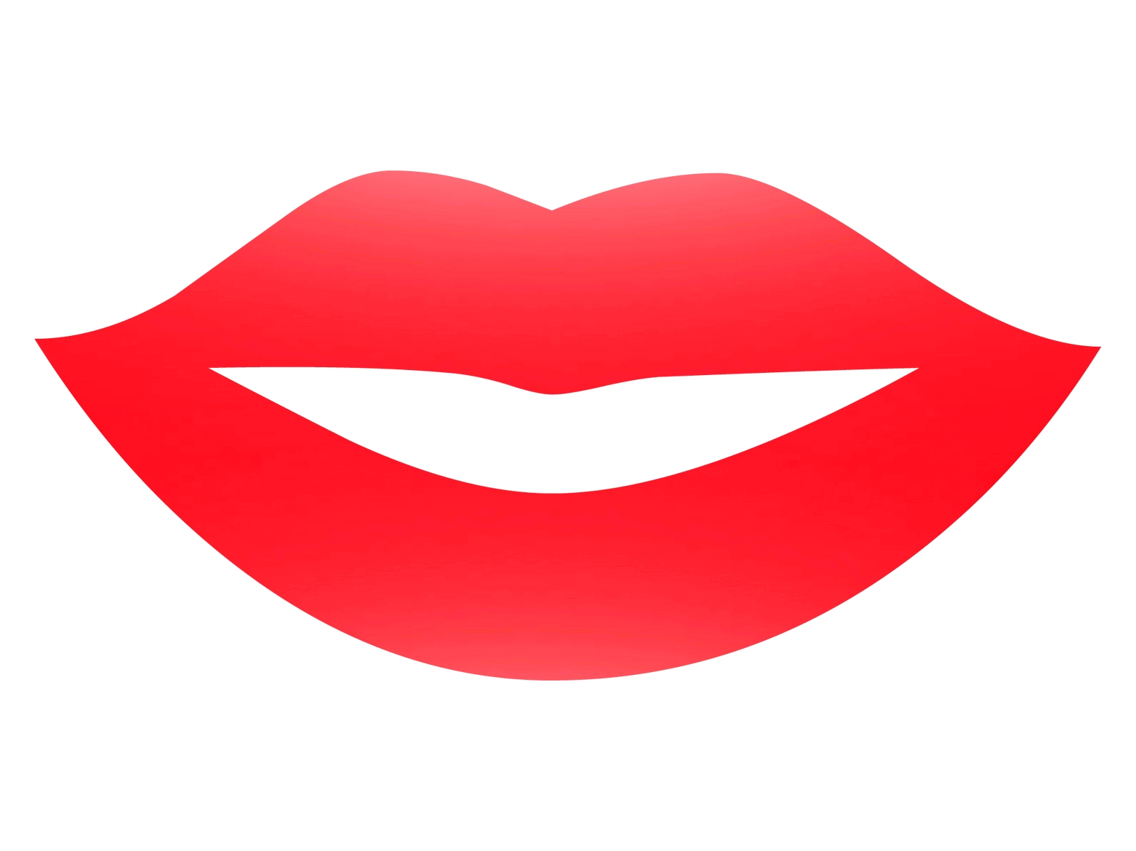 Glossy red lips clipart.