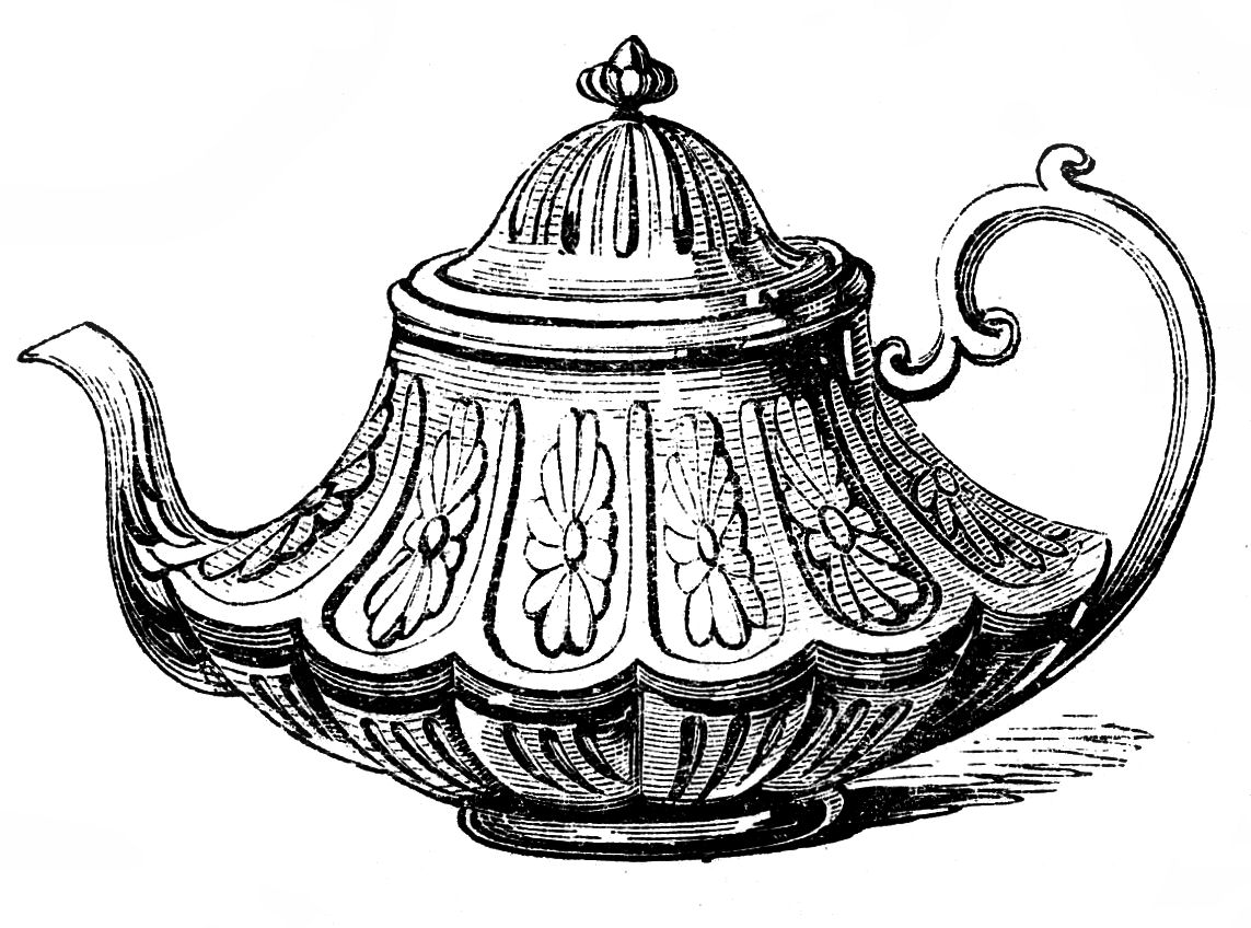 Free vintage clip art 2 ornate teapots the graphics fairy 2.