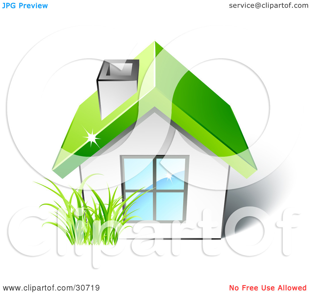 Clipart Illustration of Green Grass Growing In Front Of A Small.