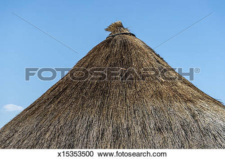 Stock Photography of Grass roof of hut in Zimbabwe x15353500.