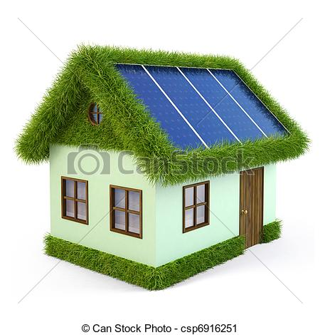 Clipart of House from the grass with solar panels on the roof.