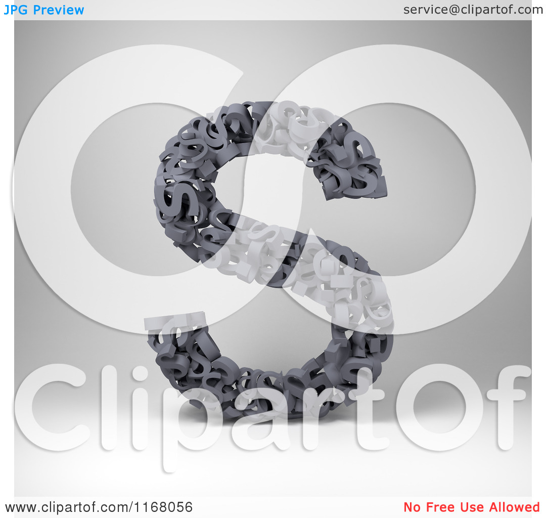 Clipart of a 3d Capital Letter S Composed of Scrambled Letters.
