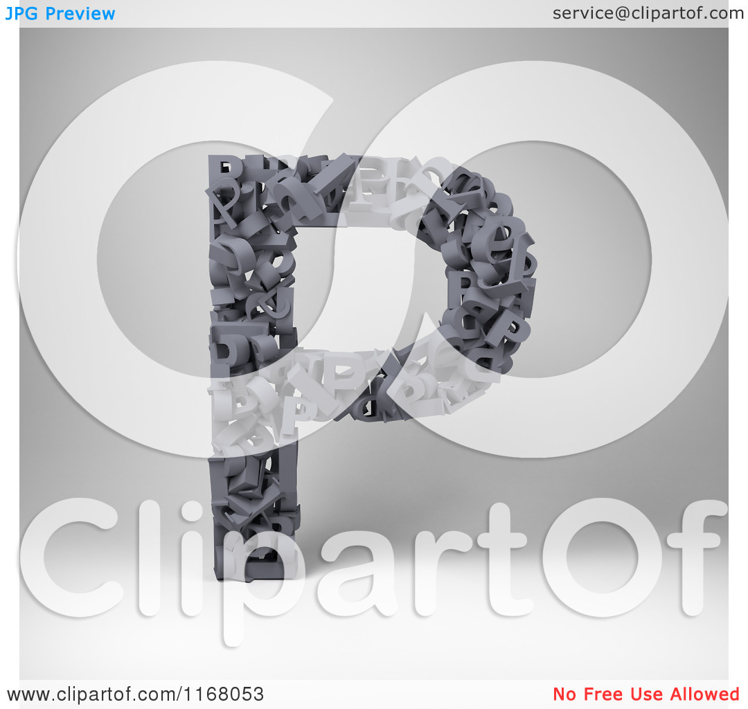 Clipart of a 3d Capital Letter P Composed of Scrambled Letters.