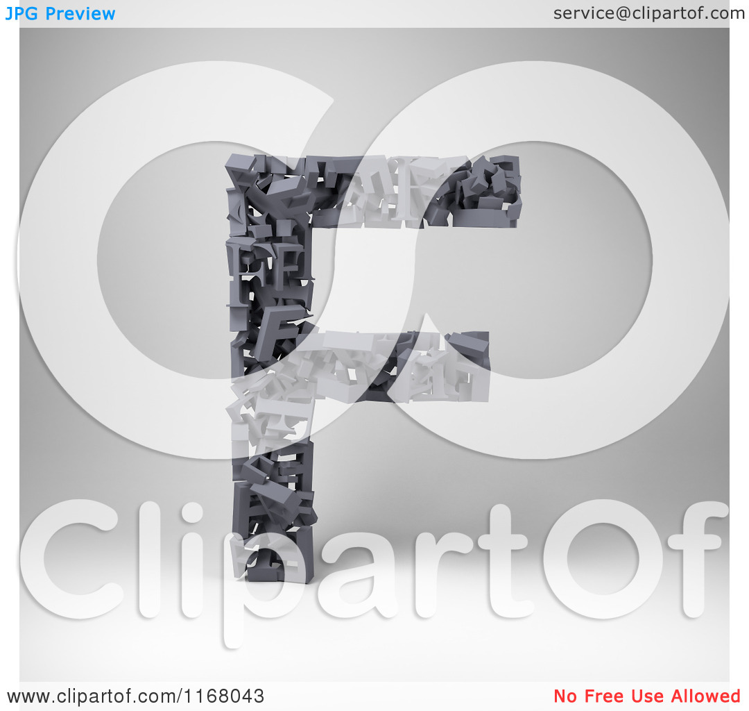 Clipart of a 3d Capital Letter F Composed of Scrambled Letters.