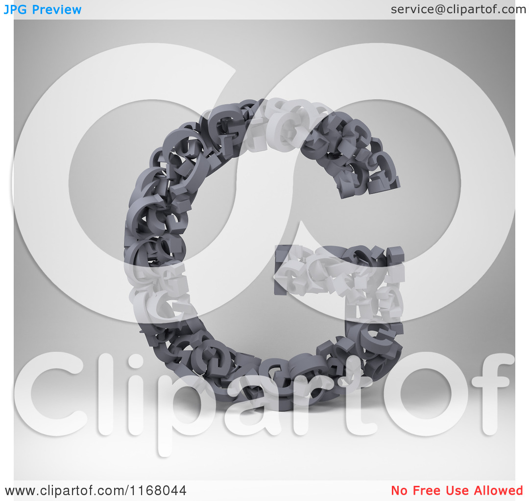 Clipart of a 3d Capital Letter G Composed of Scrambled Letters.