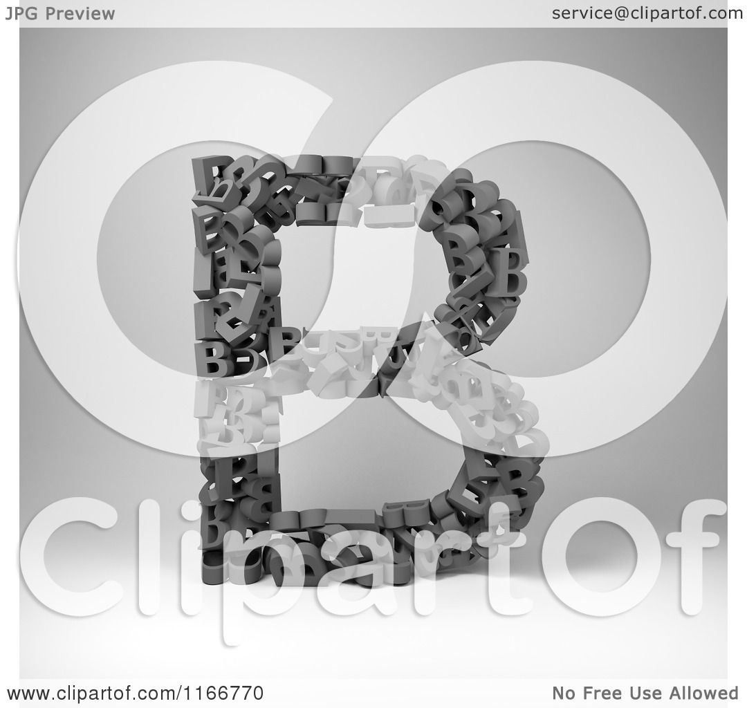 Clipart of a 3d Capital Letter B Composed of Scrambled Letters.