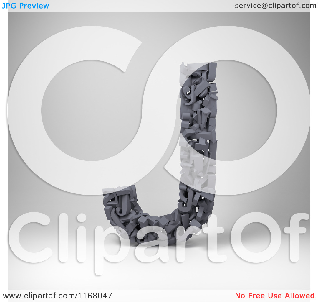 Clipart of a 3d Capital Letter J Composed of Scrambled Letters.
