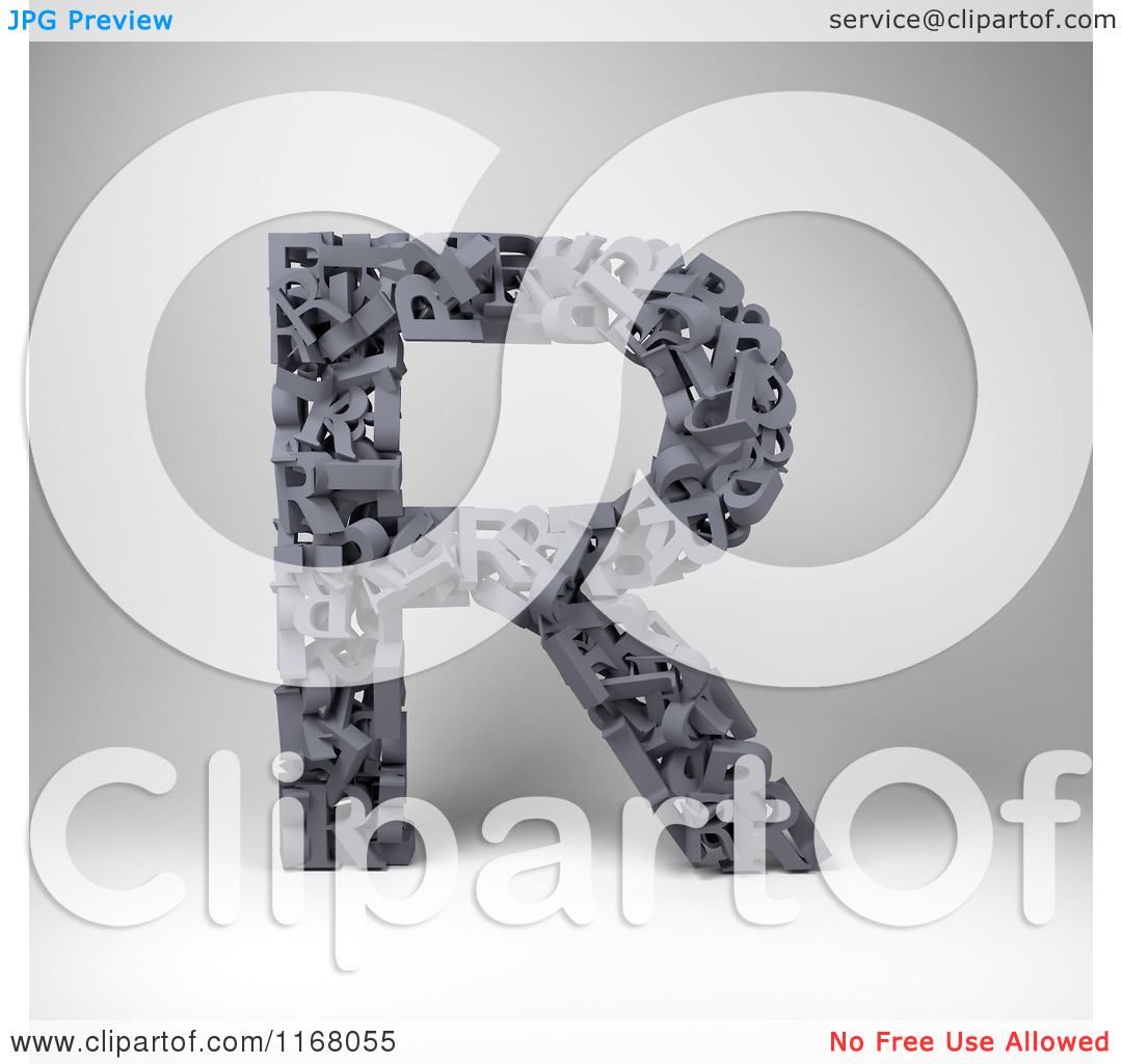 Clipart of a 3d Capital Letter R Composed of Scrambled Letters.