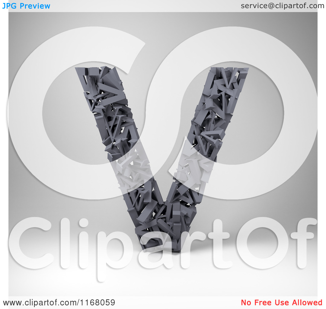 Clipart of a 3d Capital Letter V Composed of Scrambled Letters.