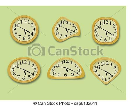 Vector Clip Art of Yellow wall clock on the green background.