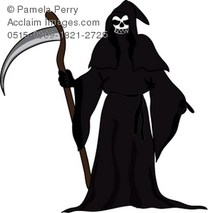 Clip Art Illustration of the Grim Reaper With a Skull Face.