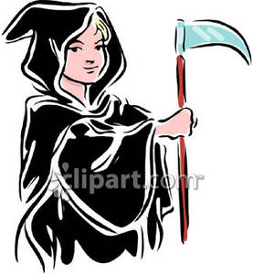 Clipart Picture of a Boy Dressed Up Like The Grim Reaper.